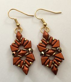 """Esperanza"" earrings. Made with Tango, DiamonDuo and 2 hole bar beads.  - Beautiful Rain Jewelry"