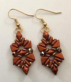"""Esperanza"" earrings. Made with Tango, DiamonDuo and 2 hole bar beads. - Beautiful Rain Jewelry"