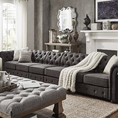 Knightsbridge Dark Grey Linen Oversize Extra Long Modular Sectional Sofa Extension by SIGNAL HILLS - Free Shipping Today - Overstock.com - 20760643 - Mobile