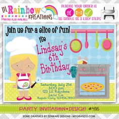 416 DIY Little Chef Party Invitation Or by LilRainbowKreations