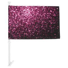 Beautiful Pink glitter sparkles Car Flag by #PLdesign #PinkSparkles #SparklesGift