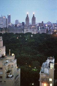 NYC. Central Park at dusk, looking West