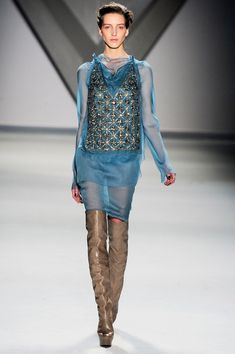 Vera Wang Fall 12 - crazy about this intense, metallic embellished design on sheer blue fabric