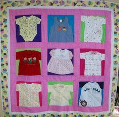 Quilt Ideas, Memories Quilt, Memory Quilts, Baby Clothes Quilt, Quilt Kits, Sewing Ideas, Babies Clothes, Baby Clothing, Clothing Quilt