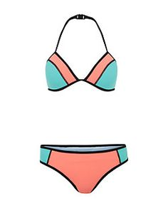 Teens Coral Scuba Colour Block Bikini Set  | New Look