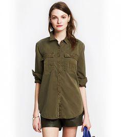 Banana Republic Soft-Wash Utility Boyfriend Shirt, Seaweed
