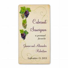 Shop Grape Vine Wine Bottle Label created by starstreambusiness. Sell My Art, Wine Brands, Wine Bottle Labels, Label Templates, Custom Address Labels, How To Be Outgoing, Grape Vines, Special Gifts, Vitis Vinifera