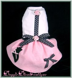 Dog Yorkie Poodle Style Skirt Dress Costume 50's Pink sizes XXS, XS or Small