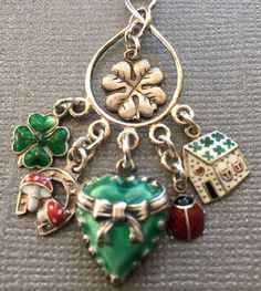 Chatelaine Pendant - Lucky Vintage Charms Green Enamel Puffy Heart Bow, Enamel Shamrock 4 Leaf Clover, Mushroom Horseshoe, Ladybug, Cottage