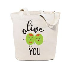 Cotton Canvas Olive You Tote Bag