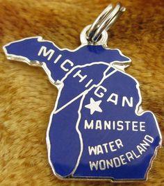 Michigan + Manistee [state map charm / pendant]