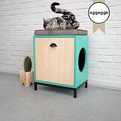 FLORA2, mueble portalitera. Para esconder la bandeja de las piedras sanitarias de tu gato. Cat Cages, Dog Furniture, Cat Condo, Cat Room, Cat Accessories, Cat Wall, Space Cat, Litter Box, Cat Design