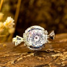Center Old European With Blue Baguette Set Diamond Ring - Vintage Engagement Proposal Ring - Unique Edwardian Ring - Bridesmaid Gift Jewelry Baguette Engagement Ring, Deco Engagement Ring, Vintage Engagement Rings, Antique Wedding Rings, Vintage Diamond Rings, Vintage Rings, Single Diamond Ring, Edwardian Ring, Estate Rings