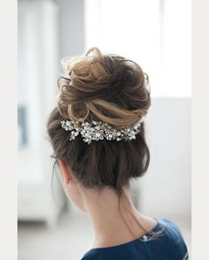 gorgeous softly curled high bridal bun ~ we ❤ this! moncheribridals.com