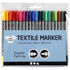 Textilmalstifte, 20 Farben sortiert