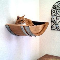Authentic Wine Barrel Head Cat Wall Shelf recycled is a unique and stylish cat bed - cat furniture Niche Chat, Cat Wall Shelves, Shelves For Cats, Cat Climbing Shelves, Cat Perch, Cat Towers, Cat Playground, Cat Room, Pet Furniture