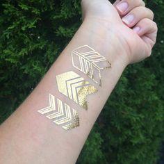 Metallic Gold Arrow Temporary Tattoo - Set of 3