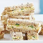 Egg Salad Finger Sandwiches Cumin and green onion brighten up this easy pantry sandwich filling.