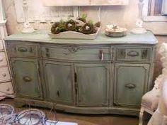 chalk paint- looks like Annie Sloan duck egg blue? Distressed Furniture Painting, Chalk Paint Furniture, Furniture Projects, Furniture Makeover, Diy Furniture, Colorful Furniture, Bathroom Furniture, Kitchen Furniture, Vintage Furniture