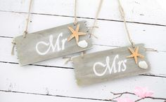 Mr & Mrs Chair Plaques, Mr and Mrs  Beach Wedding Plaques, MR and MRS Wedding Signs, Wedding Chair Signs, Photo Props, Wedding Photography by simplyWeddingday on Etsy