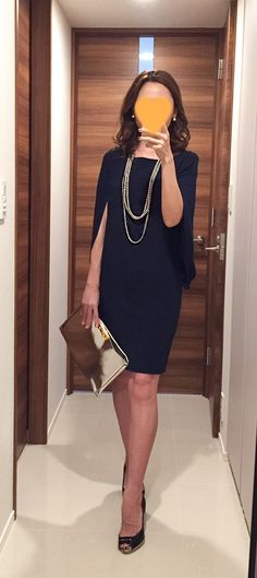 Navy dress: GIRL Silver clutch bag: MARNI, Pumps: PELLICO