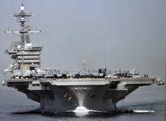The Nimitz-class aircraft carrier USS Carl Vinson (CVN-70) transits the Strait of Hormuz. (Photo viaUS Navy/Mass Communication Specialist 3rd Class John Grandin)  via @AOL_Lifestyle Read more: http://www.aol.com/article/news/2016/09/26/21-photos-that-show-just-how-imposing-us-aircraft-carriers-are/21475023/?a_dgi=aolshare_pinterest#fullscreen