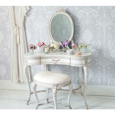 Delphine Distressed Shabby Chic Dressing Table - White
