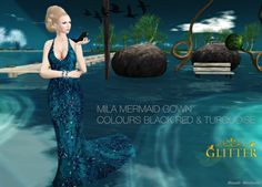 *GLITTER* MILA MERMAID MESH GOWN TURQUOISE