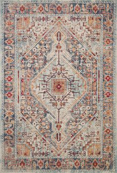 Loloi II Nour Blue/Fiesta Area Rug - Incredible Rugs and Decor Rug Direct, Carpet, Rugs On Carpet, Carpet Runner, Living Room Carpet, Oriental Rug, Rugs, Bohemian Rug, Rugs In Living Room