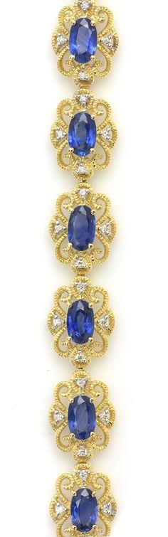 Yellow Gold Bracelet with Blue Sapphires & White Diamonds Item #355-2326717  4.80 ctw Blue Sapphire Oval & 0.27 ctw Diamond Round 14K Yellow Gold Bracelet Length 7.25 - Gem Shopping Network