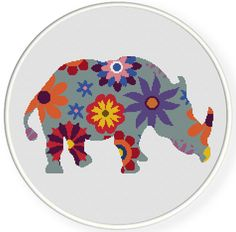 Instant Download,Free shipping,Counted Cross stitch pattern,Cross-Stitch PDF,flower rhino ,zxxc0444