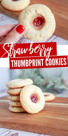 Strawberry Thumbprint Cookies for Christmas! Make these for a Cookie Exchange Party or for Friends Neighbors and Co-Workers! Strawberry Thumbprint Cookies for Christmas! Make these for a Cookie Exchange Party or for Friends Neighbors and Co-Workers! Single Serve Desserts, Desserts For A Crowd, Winter Desserts, Great Desserts, Party Desserts, Delicious Desserts, Hot Fudge Cake, Hot Chocolate Fudge, Cookie Exchange