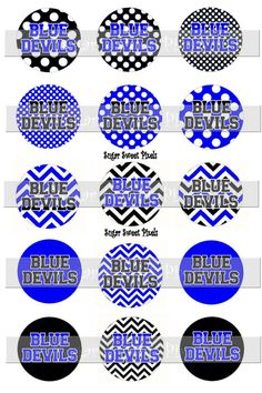 INSTANT DOWNLOAD Blue  Devils Chevron polka dot by sugarnspicebow
