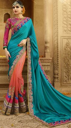 58e50ebb76 Exclusive Designer Saree With Blouse Celestial pink and paint blue  #silkcrepe #halfandhalfsaree which is