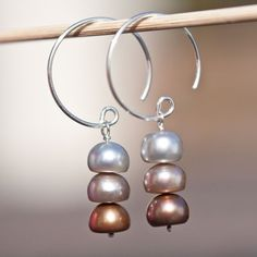 """Hoop Dangle Earrings Sterling Silver Pearls multicolor 3 Chocolate tbteam rusteam. Spectacular entirely handmade Argentium sterling silver earrings made with big and beautiful freshwater pearls in bronze, cream and silver colors.  The pearls are 8mm in diameter and 5-6mm wide. Total length of the earrings is 41 mm (1 5/8"""")."""