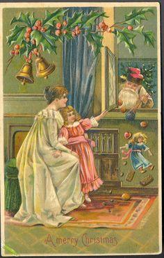 """A Merry Christmas"". Santa's arrival. 1907 embossed german card."