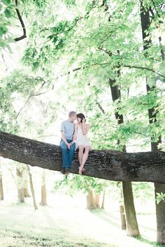 Too cute! Love that they climbed a tree for their engagement photos!   Photograph by Elizabeth Fogarty Photography