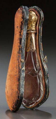 ANTIQUE SILVER GILT MOUNTED ROCK CRYSTAL PERFUME VIAL/BOTTLE WITH ORIGINAL CASE via auction -(Lot 63684)♥★♥