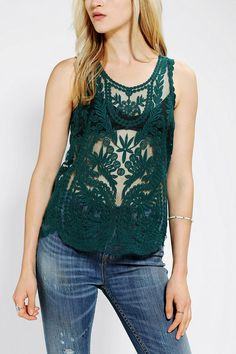 Pins And Needles Embroidered Tank Top