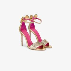 Gold leather glitter minnie sandals from Oscar Tiye.