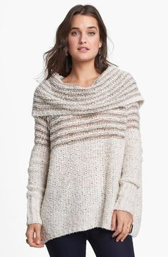 Free People 'Engineer' Stripe Cowl Neck Pullover