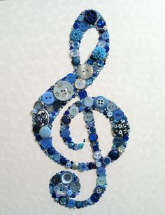 Cute for Alexa with sheet music mod podged on canvas.    Treble Clef Buttons Brads Swarovski Rhinestones Icon Custom Wall Art. $65.00, via Etsy.