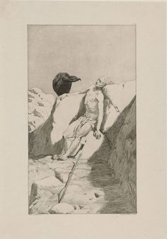 Max Klinger (German, 1857 – 1920)  Wanderers end (Dying Walker) (Wanderers Ende (Sterbender Wanderer)), 1879   Etching and aquatint  Staatliche Museen zu Berlin, Germany
