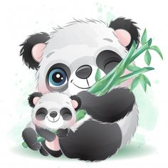 Cute Little Panda Father And Baby Boat Cartoon, Cute Cartoon, Watercolor Pattern, Watercolor Illustration, Lama Animal, Baby Animals, Cute Animals, Wild Animals, Baby Panda Bears