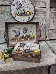 Buy Lavender tray – beige, tray, tray – Her Telden News Decoupage Wood, Decoupage Vintage, Summer Crafts, Diy And Crafts, Wood Box Design, Paisley Art, Painted Trays, Fall Diy, Paint Furniture