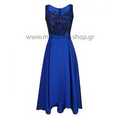 Φόρεμα σατέν μπλε ρουά. άνισο.
