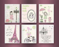 Paris Nursery Art - Baby Girl Nursery Wall Art - Paris Metro - Set Of 6 prints Shabby Chic Nursey - Vintage Style Nursery - Pink & Green Baby Room Art, Baby Room Decor, Nursery Wall Art, Girl Nursery, Girl Room, Nursery Decor, Nursery Ideas, Paris Nursery, Color Rosa