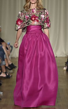 Floral Feather Applique Ball Gown by Marchesa for Preorder on Moda Operandi