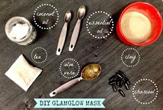 DIY for Sephora's expensive GlamGlow mask: coconut oil, charcoal, aloe Vera, bentonite clay, chamomile, peppermint