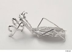 PRAYING MANTIS Insect Jewelry Life Size Pin  Sterling Silverby elegantinsects, $180.00